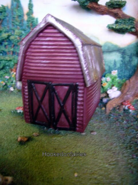 """Indoors or Outdoors 6/"""" tall Dollhouse Miniature Fairy Garden Metal Red Barn"""