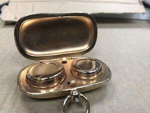 Antique-Gold-Gilded-Metal-Double-Half-amp-Full-Sovereign-Case-Holder-Nice-Item