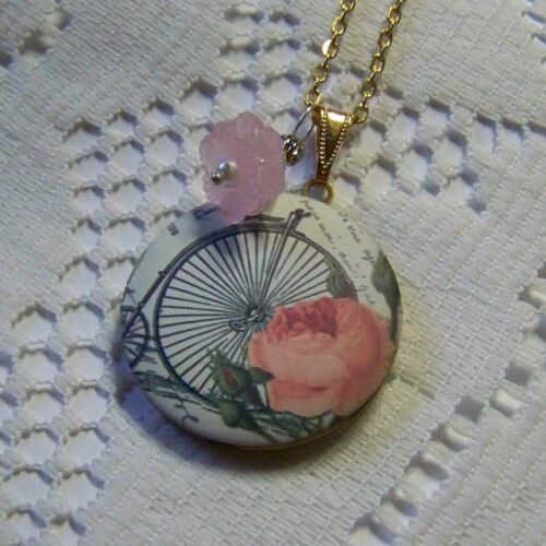 Locket Necklace High Wheel Penny Farthing Victorian Bicycle Art with Pink Rose