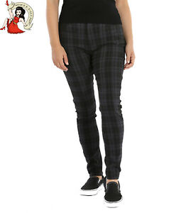 Hell Bunny Storm Skinny Trousers Grey Check Tartan