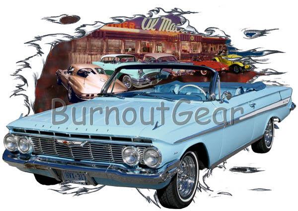 1961 Blau Chevy Impala Convertible Custom Hot Rod Diner T-Shirt 61 Muscle Car T
