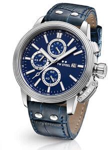 TW-STEEL-CEO-Adesso-CE7007-Herren-Uhr-Chronograph-Chrono-Leder-dunkelblau-neu