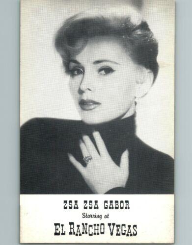 Zsa Zsa Gabor 1950/'s El Rancho Vegas Performer JUMBO Postcard Las NV Lounge Act