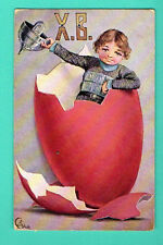 RUSSIA EASTER BOY AND EGG VINTAGE POSTCARD 287