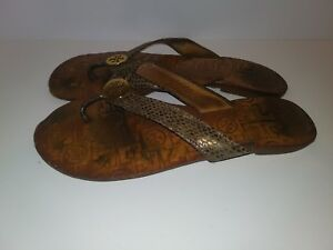 6a4f411ddfee Tory Burch Thora Gold Logo Metallic Lizard Snakeskin Flip Flop Thong ...
