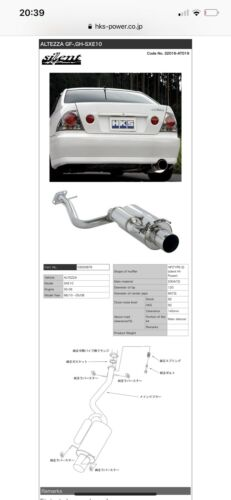 3S-GE VVT-i HKS silent Hi-Power cat back exhaust for Altezza SXE10