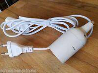 Papierlampe Lampenkabel Weiß E27 Fitting Fassung Schalter 2m Kabel Universal