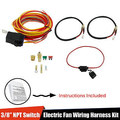 185 165 Thermostat 40 Amp Dual Electric Cooling Fan Wiring Relay Install Kit Ebay