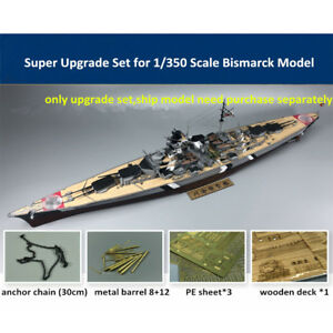 Super-Upgrade-Set-for-1-350-Scale-Bismarck-Model-Wooden-Deck-Brass-Barrel-PE