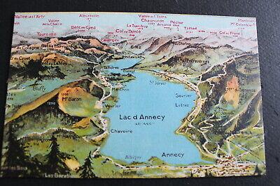 Postal De Francia Color Lago Annecy Lac D Annecy Vintage Mapa No