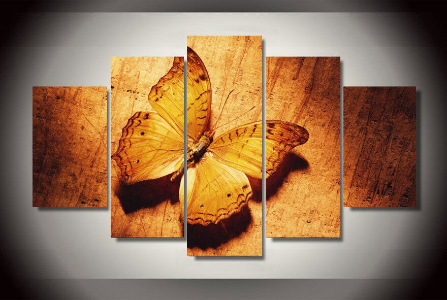 Vintage Style Golden Butterfly Painting 5 Panel Canvas Print Wall Art Home Decor