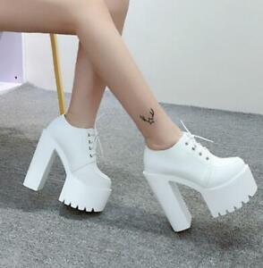 Femme-Plateforme-Talon-Haut-Bottines-A-Talon-Massif-Lacets-Casual-Chaussures-Lital-01