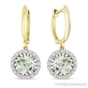 ca7d7c9c8 1.83ct Round Cut Green Amethyst & Diamond Halo Dangling Earrings 14k ...