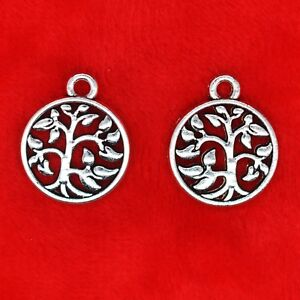 10 x Tibetan Silver Tree Of Life In Circle Charm Pendant Bead Jewellery Making