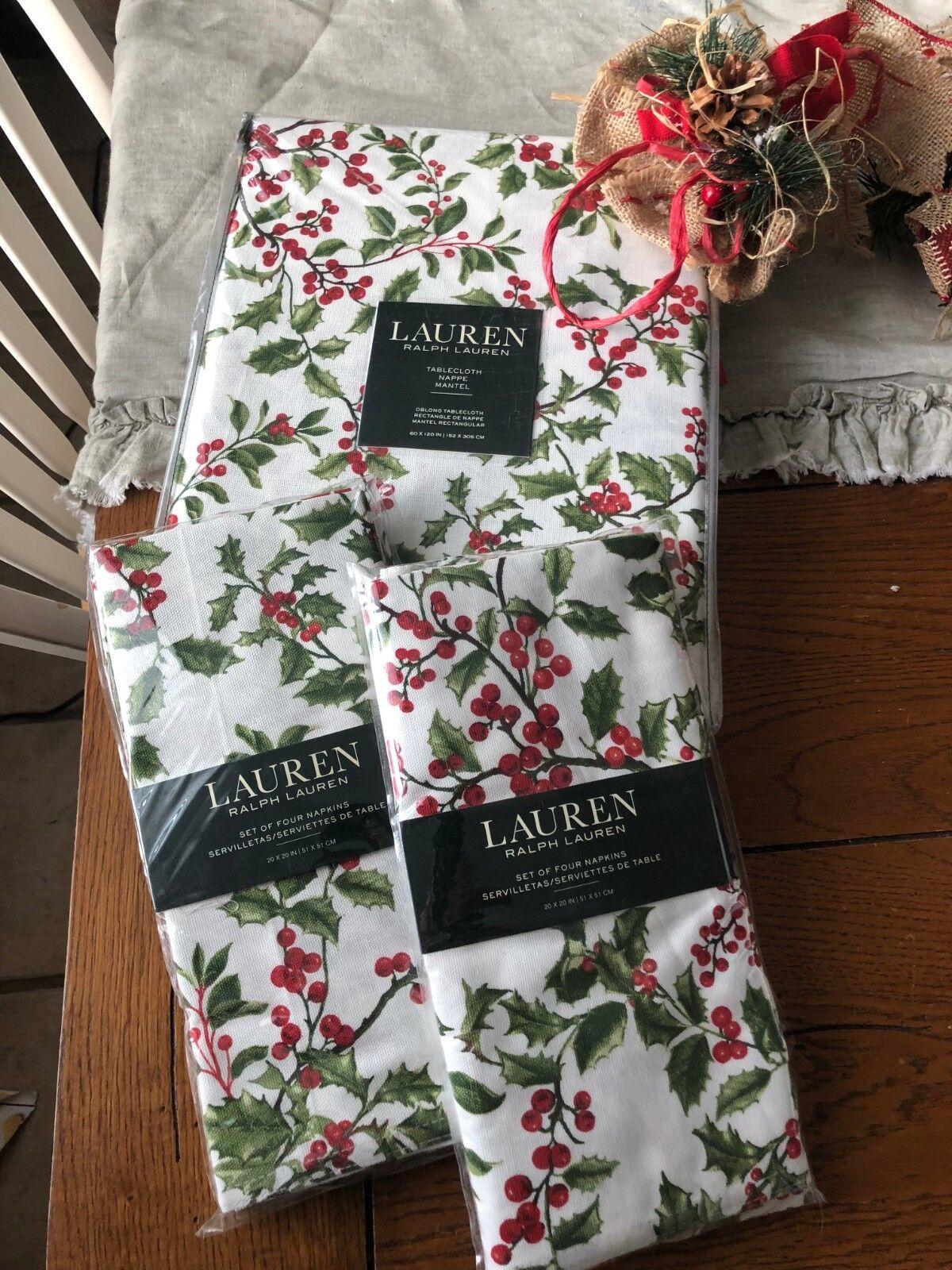 RALPH LAUREN 60 x 120  houx pin Nappe & 8 serviettes NEUF