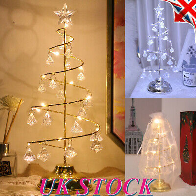 Led Spiral Crystal Tree With Drop Down Night Light New Year Home
