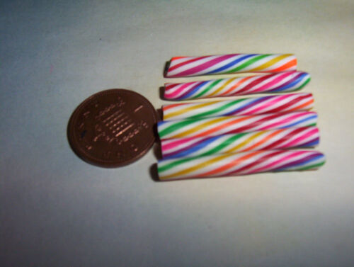 X5 Miniature Rainbow Candy Canes Bonbons Candy Doll Food 6TH échelle