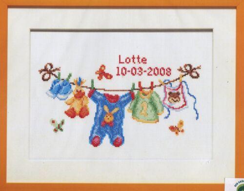 Stick Boîte stickbild le canevas 39x31 cm naissance baby de corde à linge surpyjama