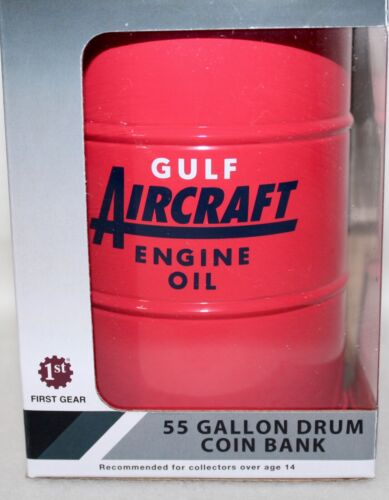 New First Gear Die Cast Gulf Aviation Aircraft Oil 55 Gallon Drum Coin Bank IOB