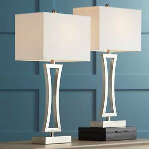 Details About Modern Table Lamps Set Of 2 Brushed Steel For Living Room Family Bedroom Bedside