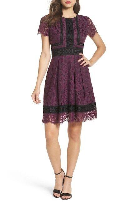Eliza J Lace Fit & Flare Dress Raisin EJ7M3616 Größe 10