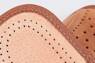 Los hombres `s Cuero Zapatillas 100% Cuero Natural Talla Uk 6,7,8,9,10,11,12 Marrón Claro