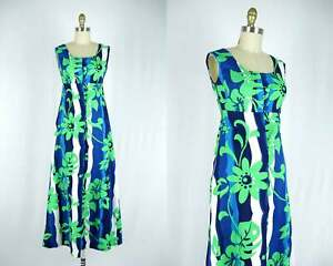 Aloha Long Hawaiian Dress Tiki Dress Vintage Hawaiian Dress Tropical Print Blue Floral Print Hawaiian Print Green Maxi Dress