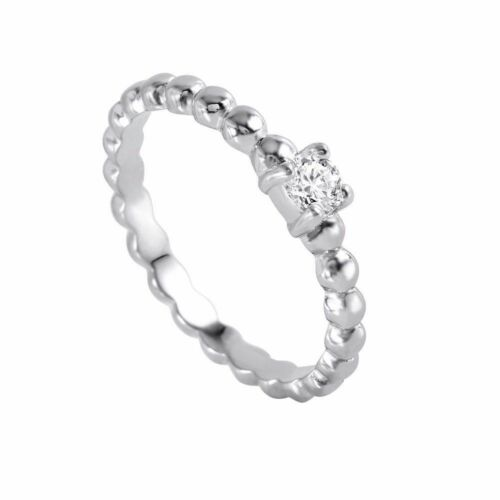 SZ 5-9 925 Sterling Silver ladies Clear Bead Ring W// diamonds////NEW DESIGN!