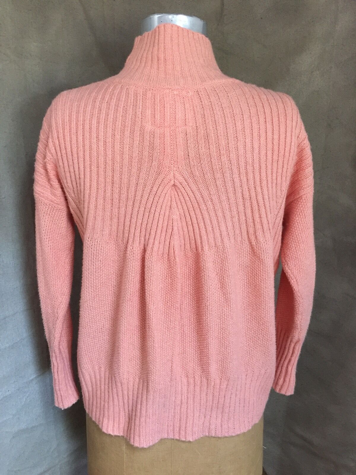 Womens SOFT COTTON Blend RIB SWEATER Anthropologie Angel of the North Peach XSP