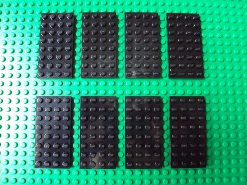 Lot of 8 4x8 BLACK Building Plate Baseplates Base 4 x 6 #b8yhj Lego