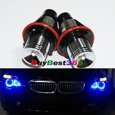 2x Blue Angel Eyes LED Lights Ring Marker Xenon HID for BMW E39 E60 E53 E65