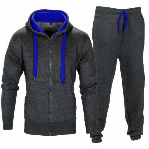 Mens Tracksuit Set Fleece Hoodie Hooded Top Bottoms Jogging Joggers Gym CONTRAST