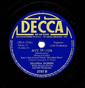 DEANNA DURBIN on 1939 Decca 2757 - Ave Maria / Because