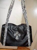 Zebra Print Cross Shoulder Handbag Western Bling Purse