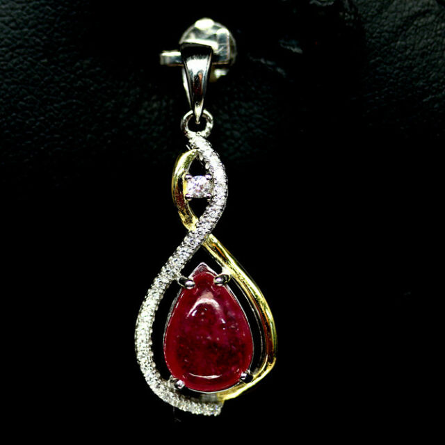 NATURAL 8 X 10mm. PINK RUBY & WHITE CZ TWO TONE PENDANT 925 SILVER STERLING