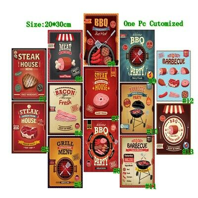 Metal Tin Sign BBQ Fresh Cooked Best Meat Bar Pub Vintage Retro Poster Cafe Art