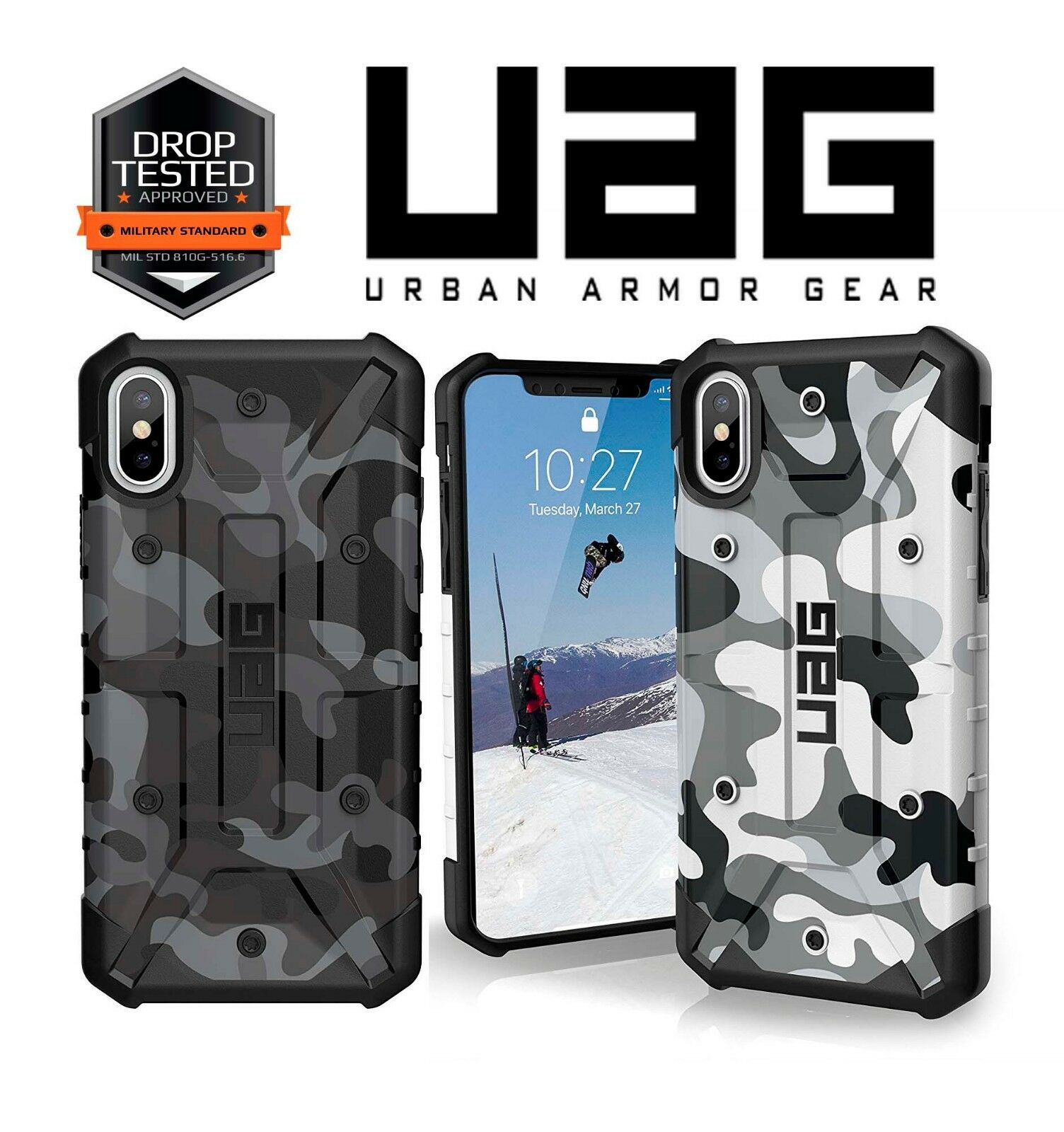 best loved 154b8 e42cf UAG Pathfinder SE Camo Scratch Resistant Case for iPhone X Midnight Black MT