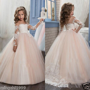 Flower Girls Dresses Cap Sleeve Holy Communion Dress Kid/'s Party Prom Gown