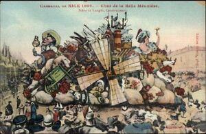 Nice-France-Carnaval-1909-Elaborate-Parade-Float-Artist-Drawn-Postcard-4
