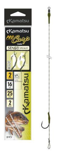 2 1//0 2x KAMATSU Karpfen Rig Montage Carp Haken Look Boilievorfach 16cm 20cm gr