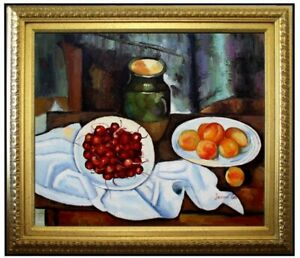 Framed-Hand-Painted-Oil-Painting-Repro-Paul-Cezanne-Cherries-and-Peaches-20x24in