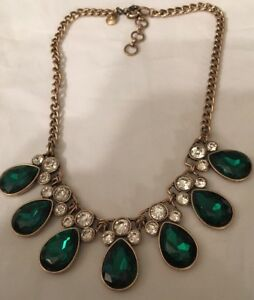 J-Crew-Emerald-Green-Tear-Drop-With-Stones-Clear-Necklace