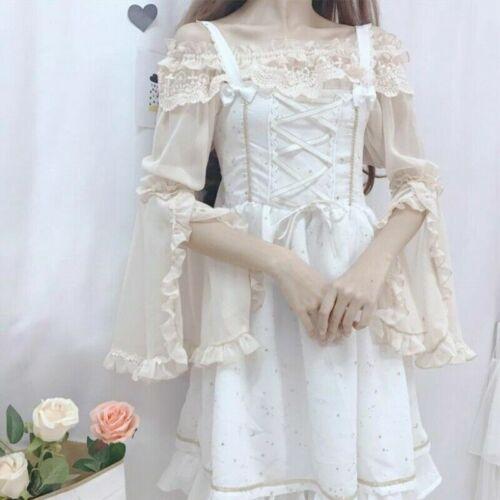 Damen Mädchen Lolita Spitze Shirt Rüschen Top Chiffon Bluse Flare Ärmel Vintage
