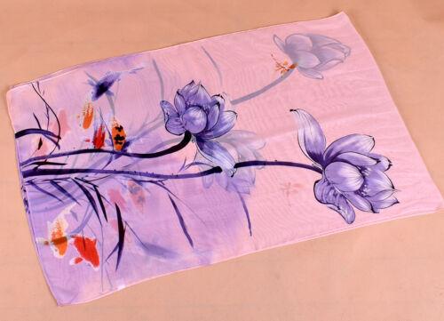 160 50cm Fishes Flowers Floral Fashion Ladies Scarves Chiffon Womens Shawls X315