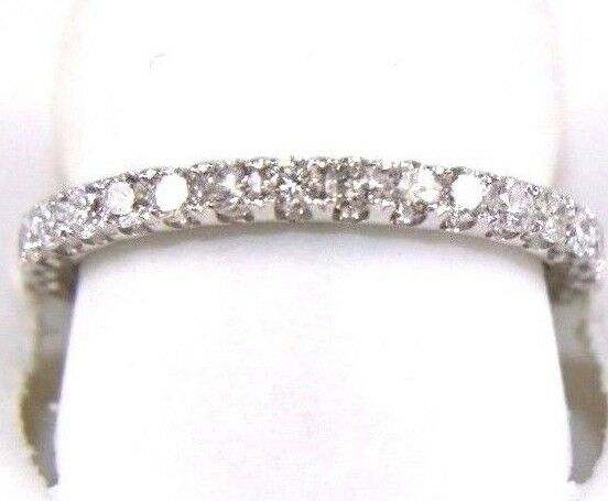 Round Diamond Channel Lady's Ring Band 14k White Gold .60Ct