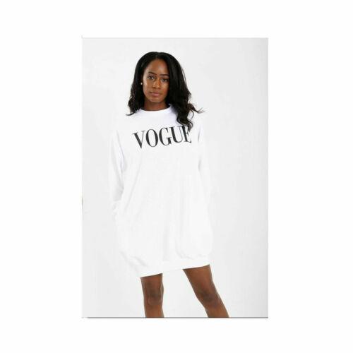 Women Ladies Vogue Print Baggy Oversize Side Pockets Loose Sweatshirt Tunic Dres