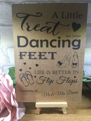 Phenomenal Personalised Dancing Feet Wedding Table Sign Rustic Kraft Ibusinesslaw Wood Chair Design Ideas Ibusinesslaworg