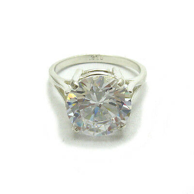 STERLING SILVER RING SOLID 925 WITH 12MM ROUND CUBIC ZIRCONIA EMPRESS R000400