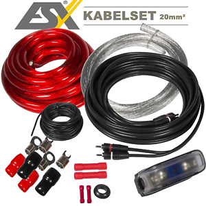 ESX Hz 20 mmâ² Câble Kabelset CÂBLE D/'ALIMENTATION MASSE Câble Cinchkabel sauvegarde Support