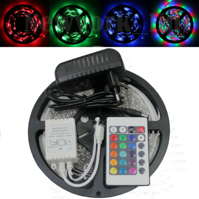16.4ft 2835 RGB 300 LED Strip Light Flexible+24 Key Remote+12V Power Supply